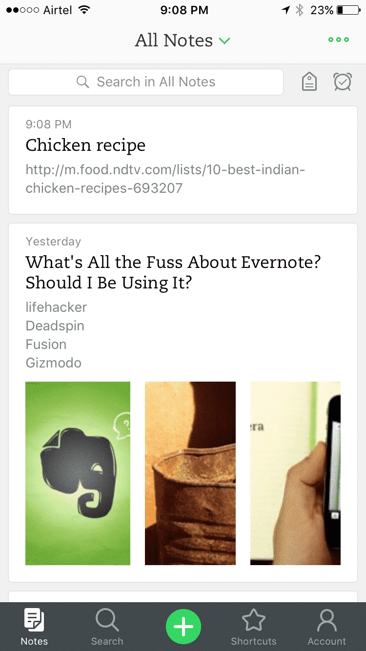 Evernote all notes