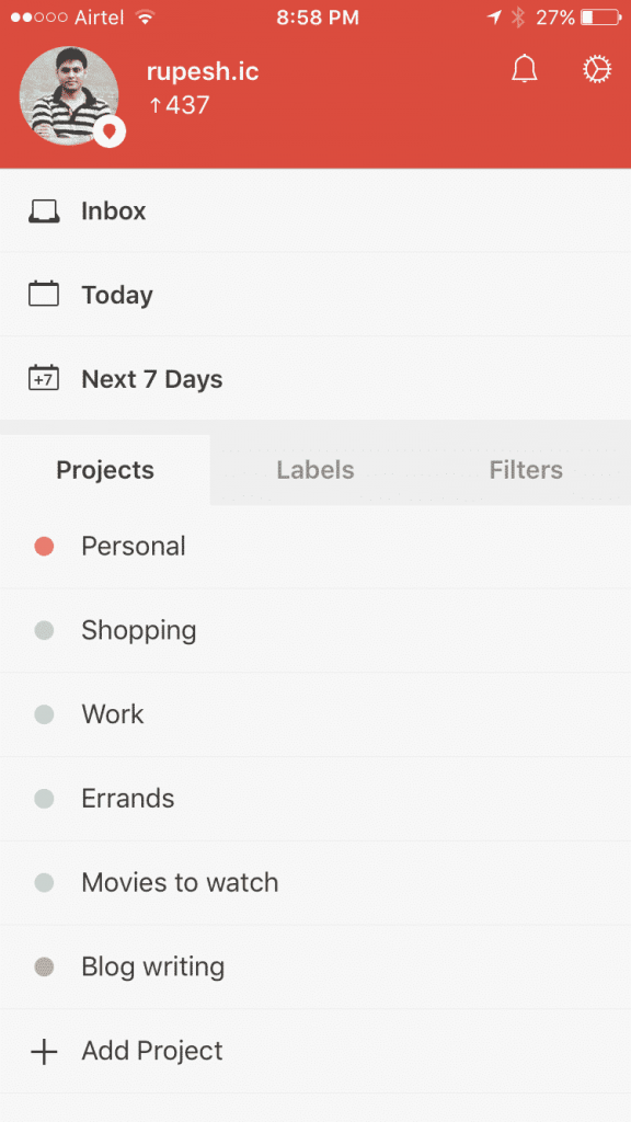 Todoist Coloured Projects for easy identification