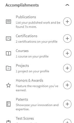 LinkedIn Accomplishments