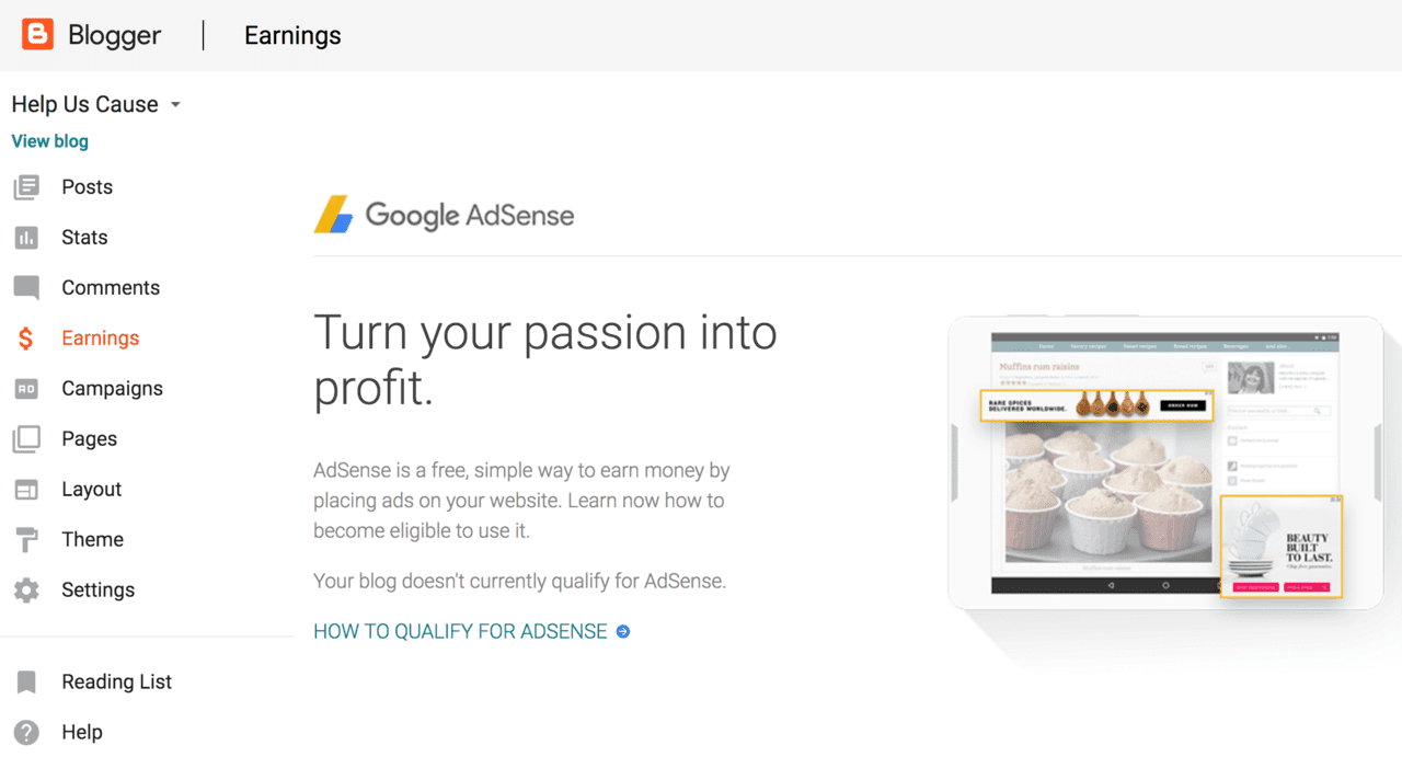 set up google Adsense on blogspot