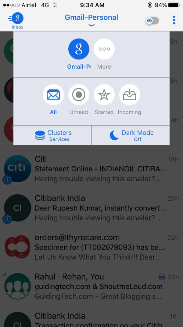 BlueMail Cluster and Dark Mode with Swipe