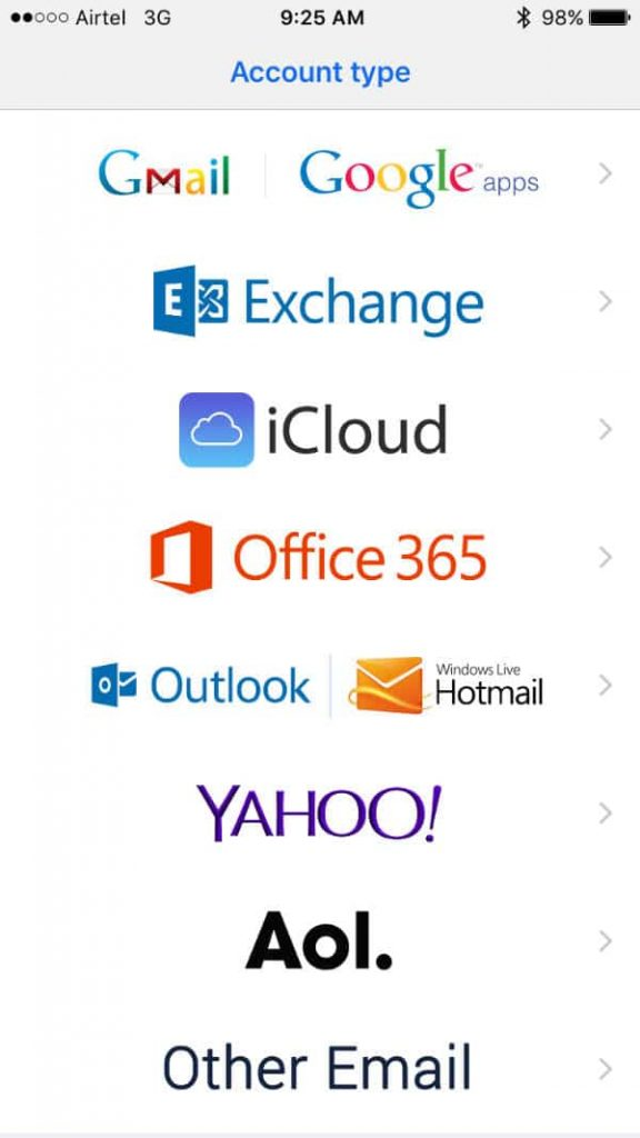 BlueMail Service Supported