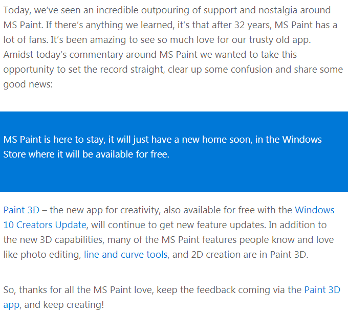 Micrsoft Official Announcement about retaining MS Paint