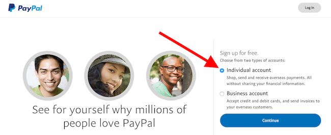 PayPal Account choose individual or business