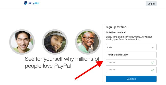 PayPal Login email ID and password