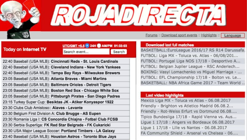 Rojadirecta - Free Sports Streaming Website