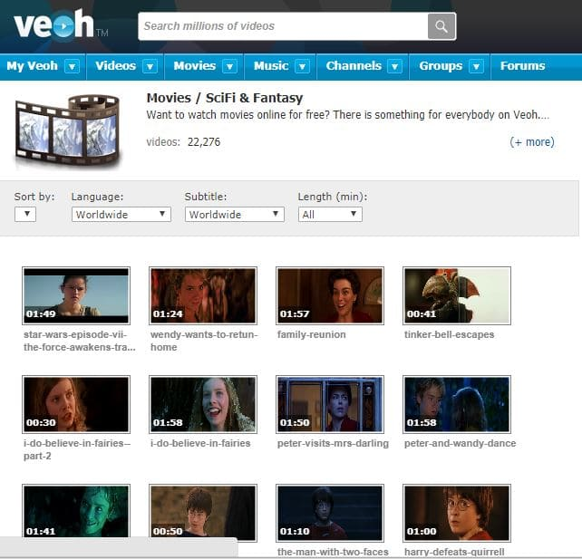 Veoh Free movie website