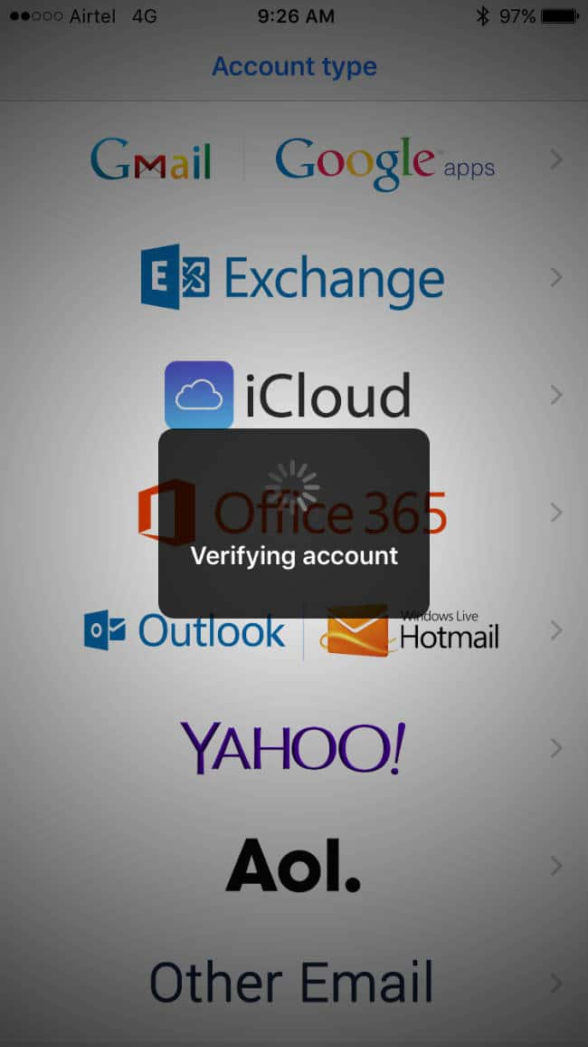 Verifying Account in BlueMail