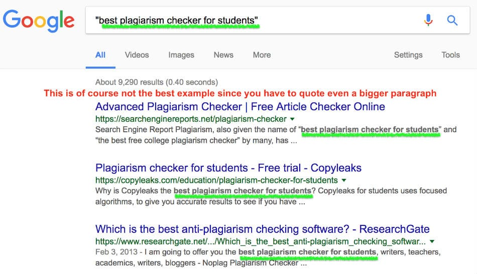 double quote check in Google for plagiarism
