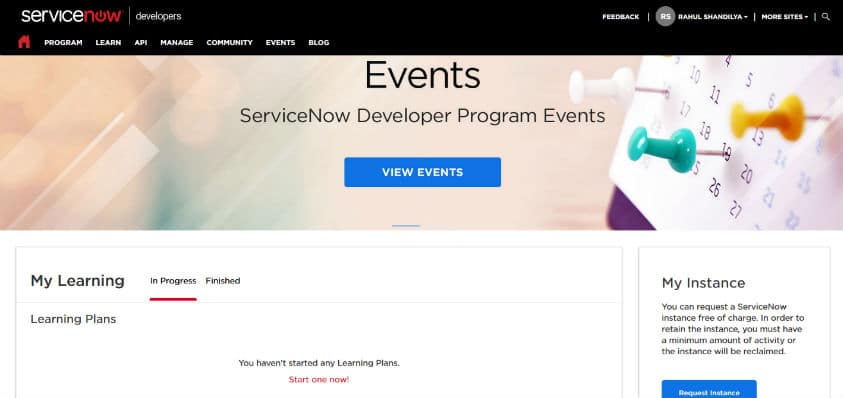 servicenow developer portal sinup