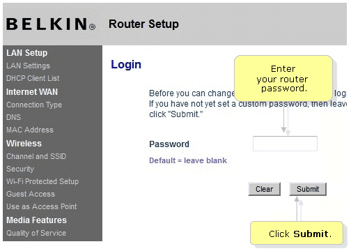 Belkin router console page login screen after you enter 192.168.2.1