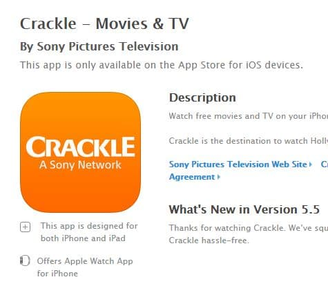 Crackle iOS application endorse its legitimacy
