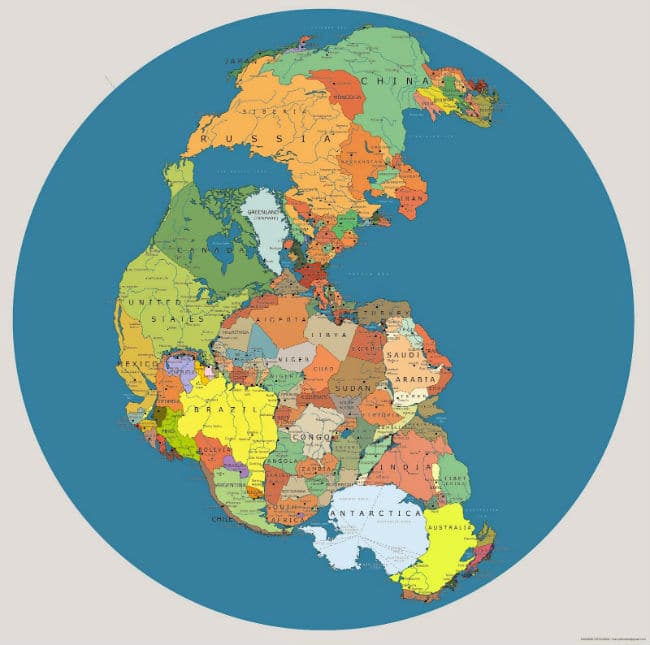Pangea Map Illustrated with Countries - Pangaea theory