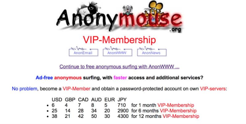Anonymouse free web proxies