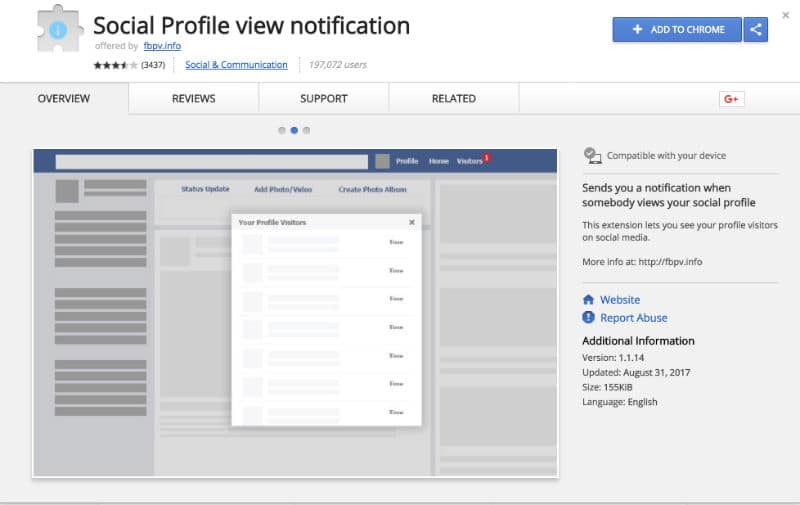Chrome Extension - ExtensionSocial Profile view notification