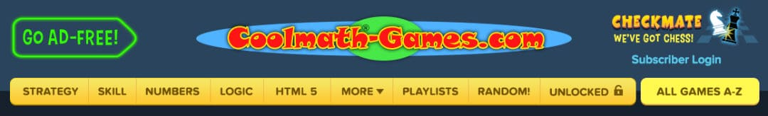 Cool Math Games.com website Category of cool math games