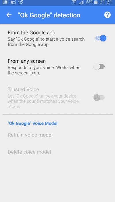 Enable OK Google in OK Google detection