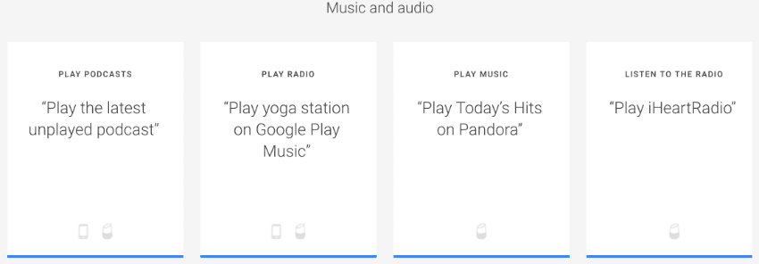 Music and audio with Google Asistant by saying OK Google