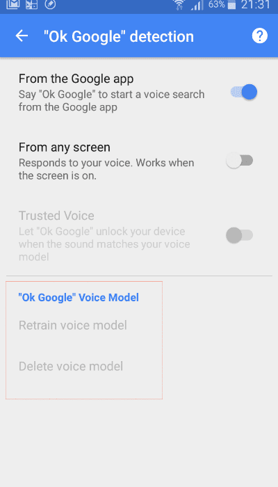 OK Google Voice Model
