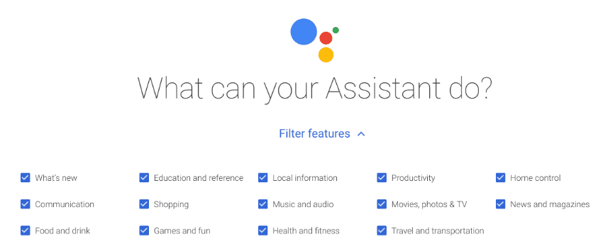 What Google Assistant can do with OK Google - Categories
