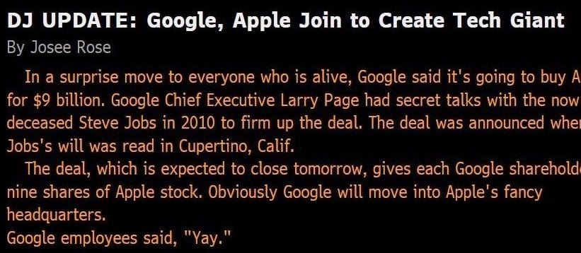 google apple acquisition fake news