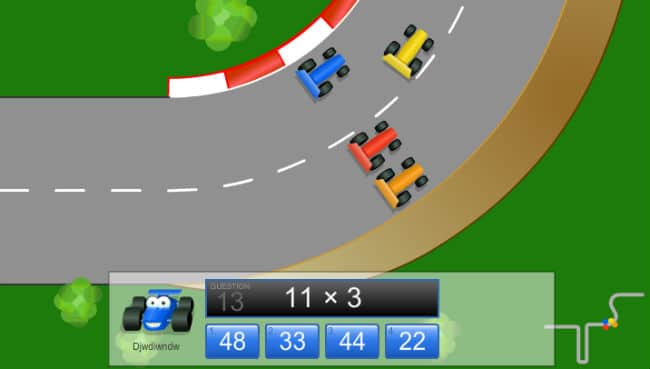 Car Racing Multiplication Game 11x3 www.coolmath4kids.com