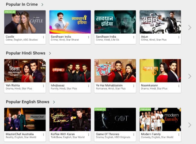 Categories of TV Serials on Hotstar