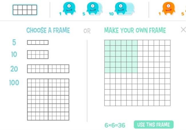 Choose Ten Frame on manipulatives on coolmath4kids