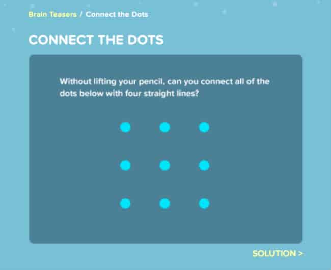 Connect the dots brain teaser on coolmath4kids