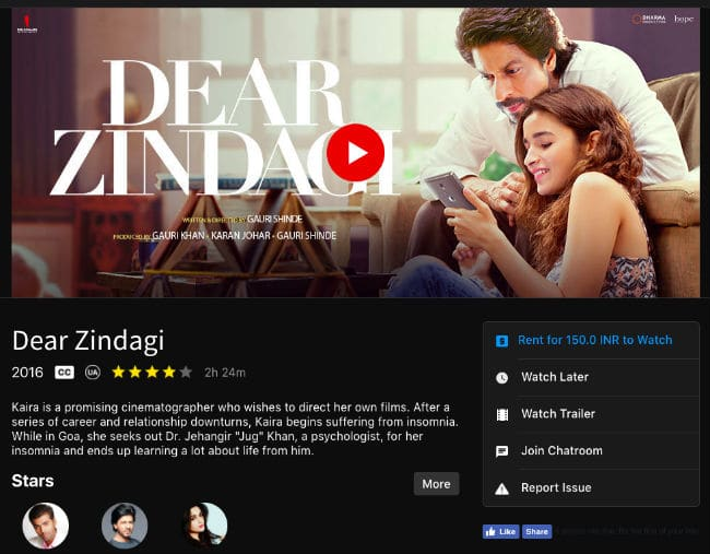 Dear Zindagi on rental on Spuul