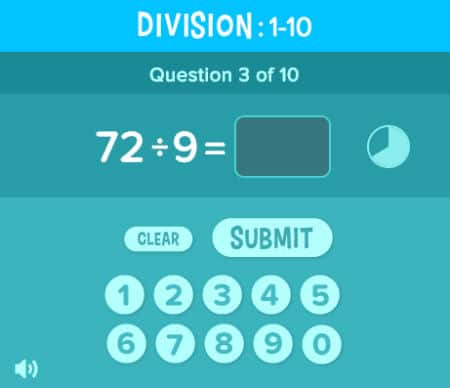 Division Quiz 72:9 at CoolMath4Kids Portal