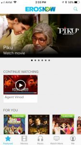 Eros Now app access free hindi movies from JioCinema and Airtel TV