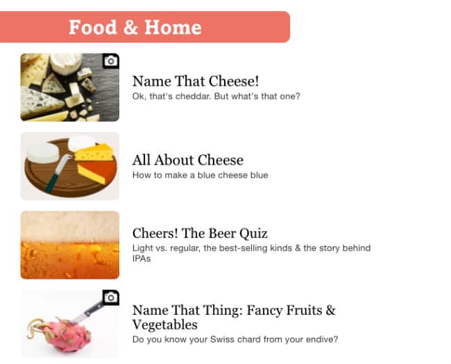 Food & Home Category QuizLife.com