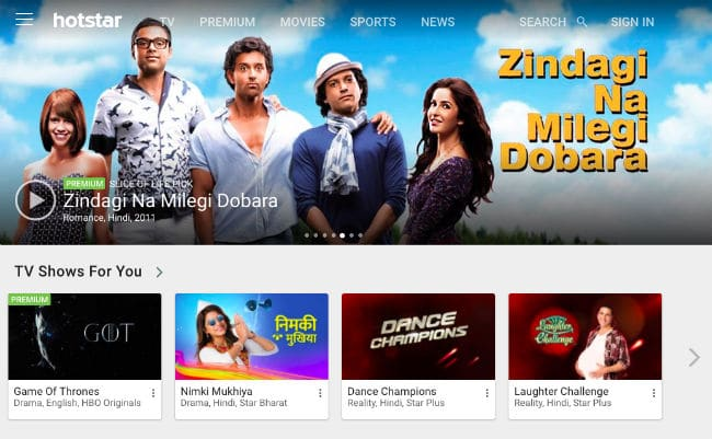 Hotstar Homepage with ZNMD