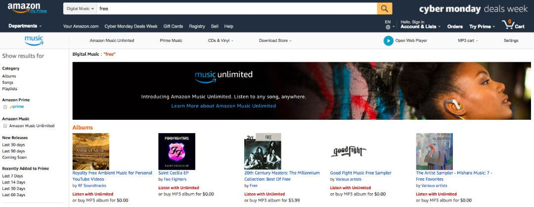How to find free music to download on Amazon.com
