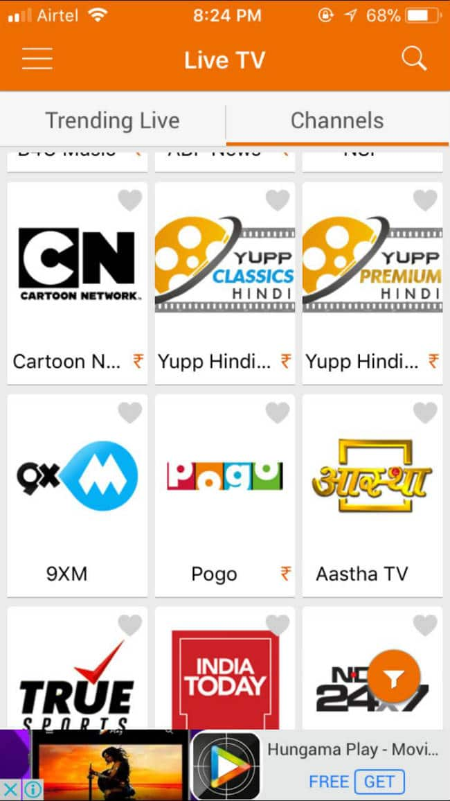 Live TV Channels on Yupp TV App