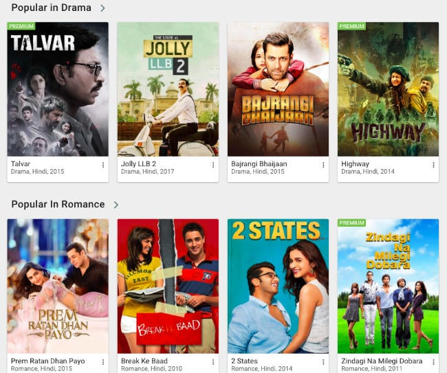 Movie sorting & filter on Hotstar