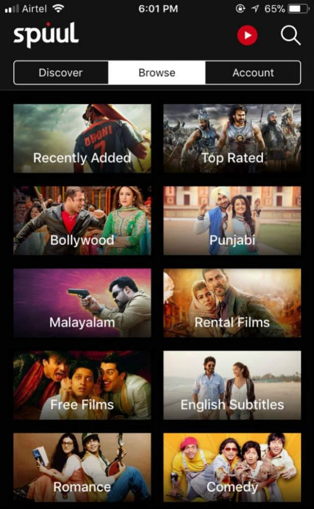 Movies category on Spuul