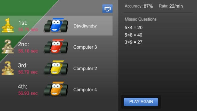 Multiplication Games at Coolmath4kids portal