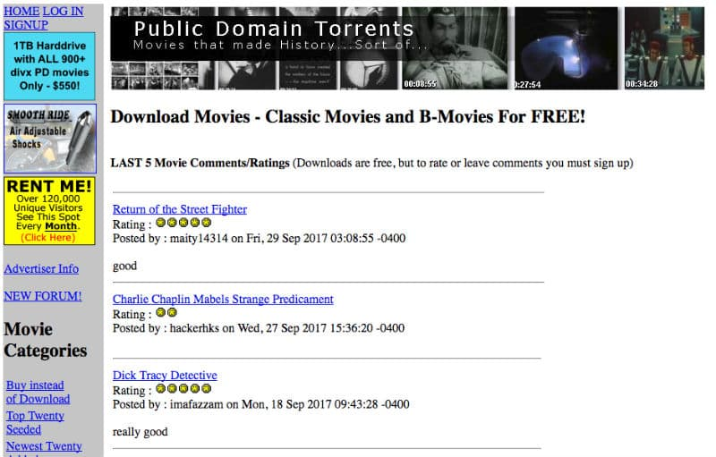 Public Domain torrent Offers free movie downloads