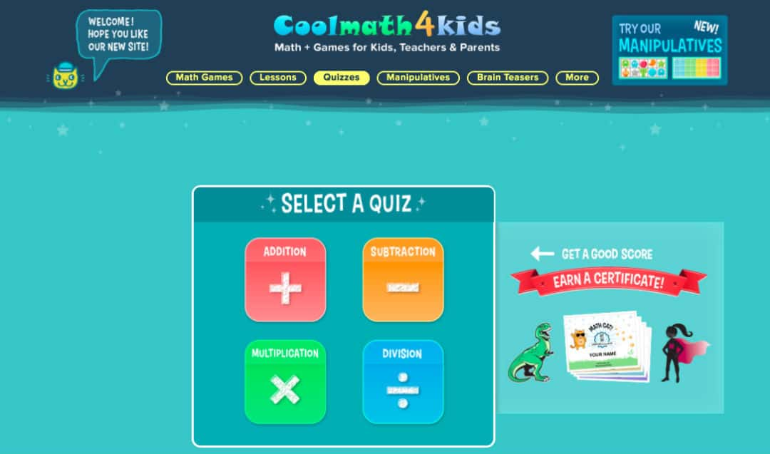 Math Quizzes for kids below 12 years on CoolMath4Kids Portal