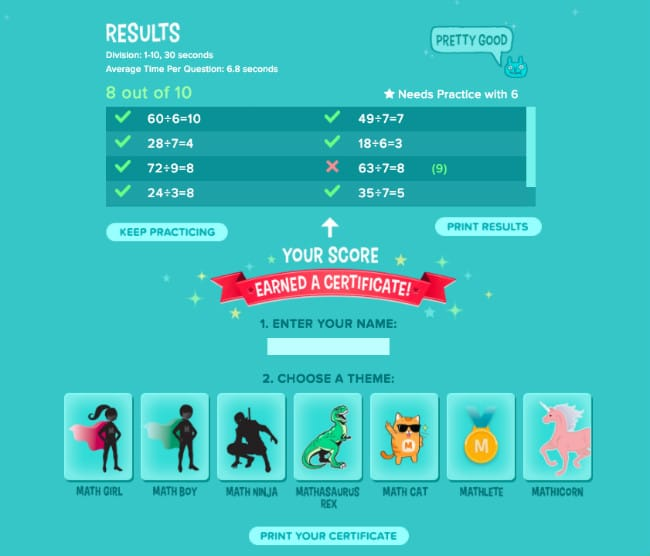 Results of quiz on coolmath4kids
