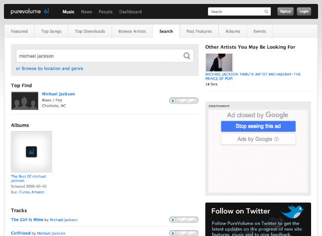 Search music on PureVolume