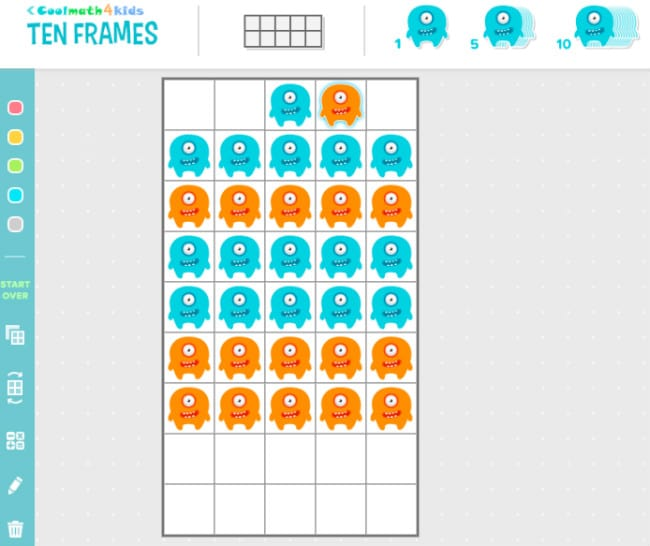 Ten Frame Manipulative on coolmath4kids
