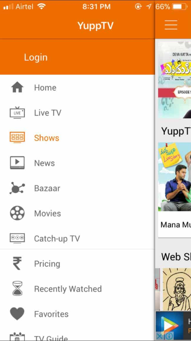 Yupp TV Menu Bar in App
