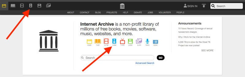 Internet Archive Audio Archive Button