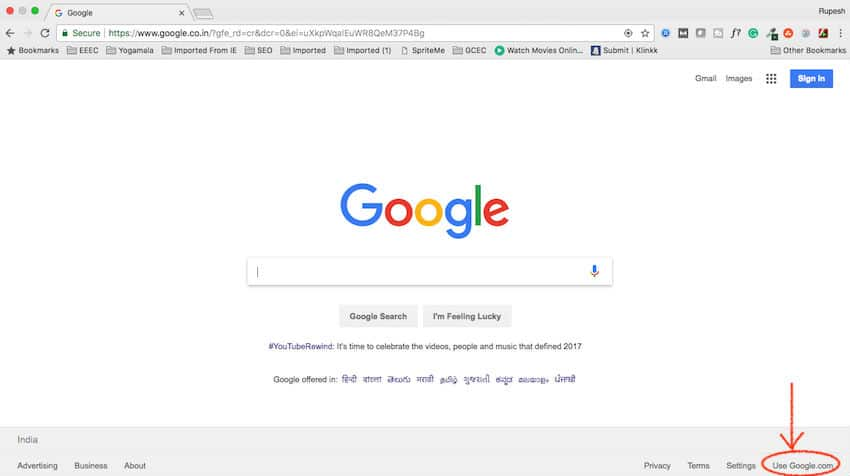 Use Google.com option in Google Chrome