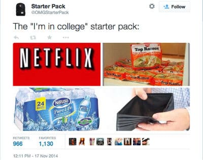 I'm in college starter pack