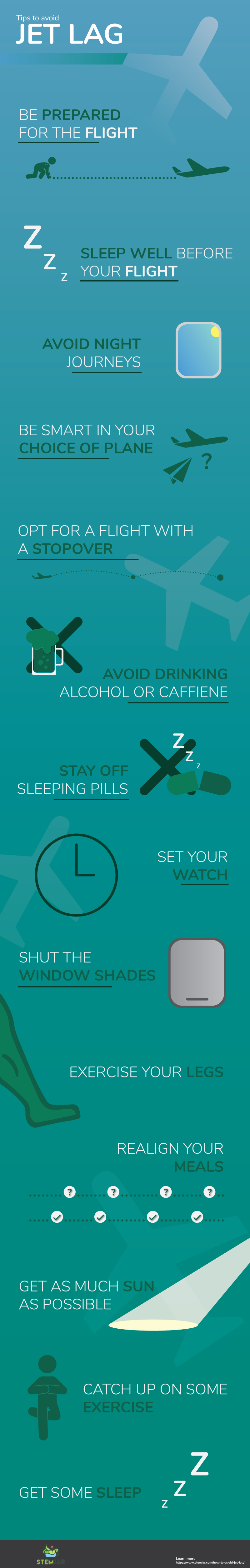 How to Avoid Jet Lag info graphic