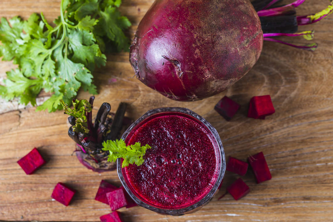 There are a number of Beetroot juice benefits such as It lowers blood pressure, Improves stamina, Improved skeletal muscle strength, Improves brain function, May prevent cancer, Helps prevent muscle cramps, Improves liver function, Controls diabetes, May reduce cholesterol, Helps improve digestion, etc.